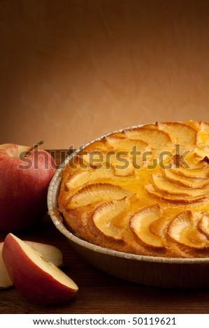 apple pie with slice apple close up - stock photo