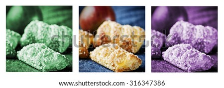 Apple pies and fresh apple, puff pastries, triptych in green, purple and natural color - stock photo