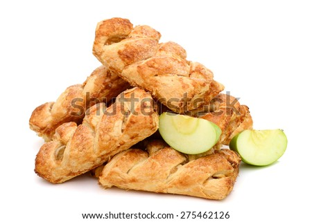 apple pies and green apple slices isolated on white  - stock photo