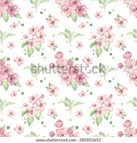 Apple pink flowers. Cherry blossom. Floral pattern. Watercolor - stock photo