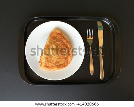 Apple puff pastry, top view. - stock photo