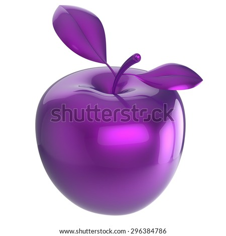 Apple purple blue research experiment food nutrition fruit antioxidant fresh ripe exotic danger poison anomaly unusual agriculture organic funny icon. 3d render isolated on white background - stock photo