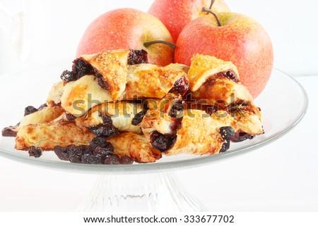 Apple raisin rugelach, traditional dessert for the Jewish holidays - stock photo
