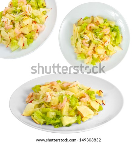 apple shrimp salad set isolated on white background clipping path