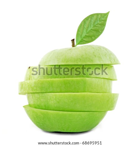Apple slices with leaf on white background