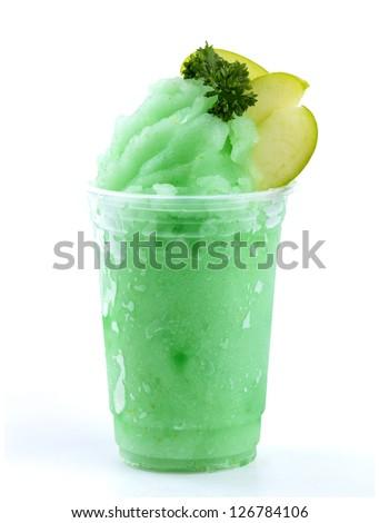 apple smoothies on white background - stock photo