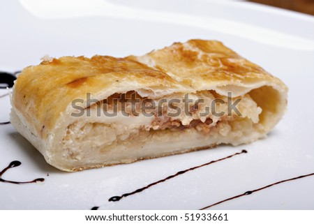 Apple strudel, delicious sweet cake - stock photo