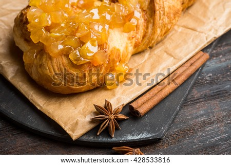 Apple strudel on the rustic wooden background - stock photo