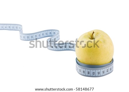 Apple tighten with measure tape isolated on white - stock photo
