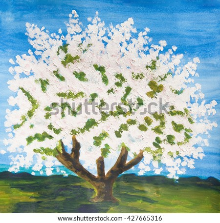 Apple tree in blossom in spring, painting, oil with acryl on paper. - stock photo