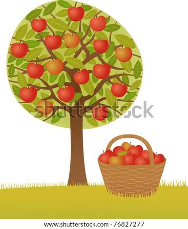 Apple tree  Raster image. - stock photo
