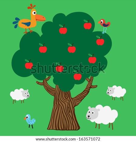 Apple tree with farm animals - stock photo