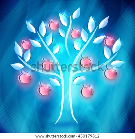Apple tree with red apples on a abstract blue background - stock photo