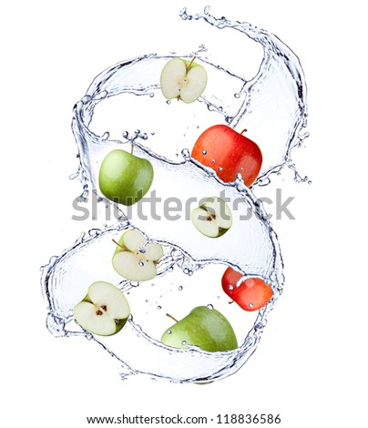 apple under water with a trail of transparent bubbles. - stock photo