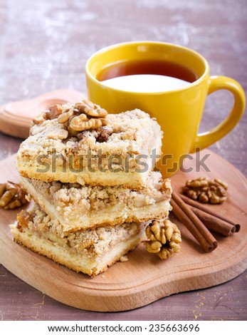 Apple, walnut crumble bars - stock photo