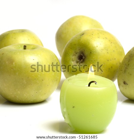 apple with candle