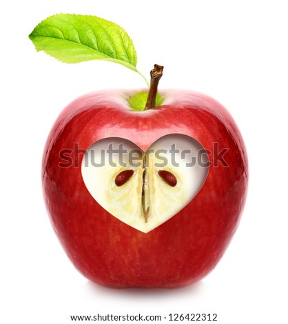 Apple with heart isolated over white background