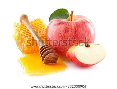 Apple with honey - stock photo