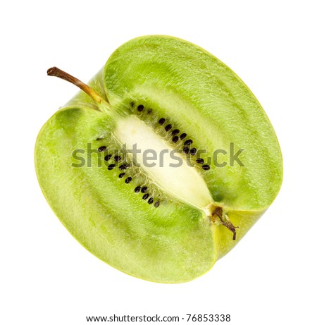 apple with kiwi fillings, genetically modified organism - stock photo