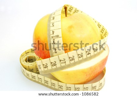 apple with measure tape #1 - stock photo