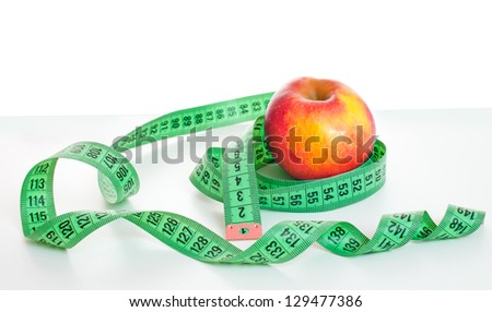 apple with metre on a white background