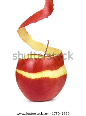 apple with peeled skin on white background - stock photo