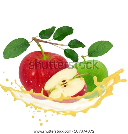 Apple with splash isolated on white - stock photo