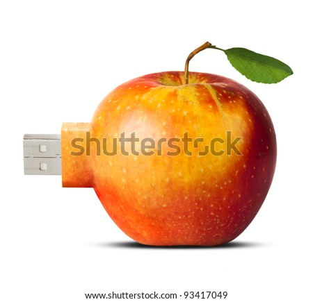 apple with usb flash card connector - new technology concept, isolated over white background - stock photo