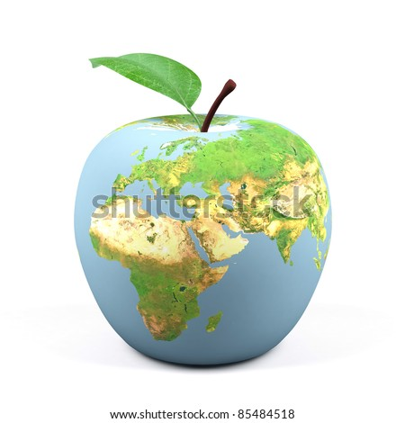 Apple world. 3d image. - stock photo