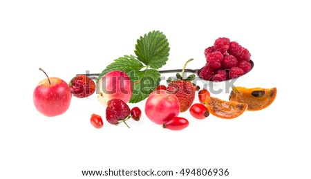 apples and berries on a white background isolated