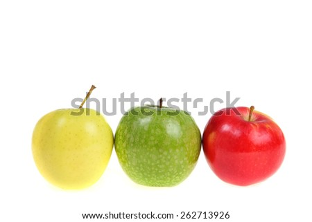 Apples and measuring tape isolated on a white background. Concept of diet.