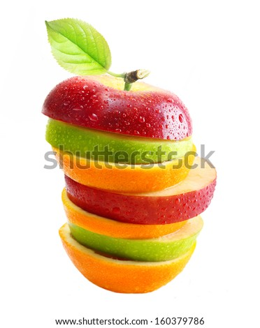 Apples and orange fruit with water drops isolated - stock photo