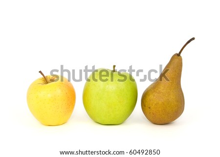 apples and pear isolated on white