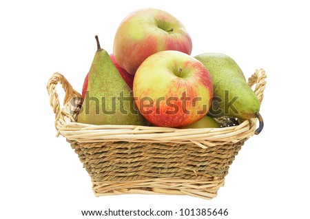 Apples and pears in a straw basket isolated on white background - stock photo