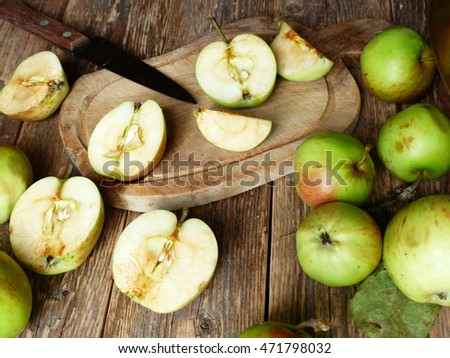 apples, bowl, wooden background, selective focus