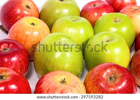 Apples group  isolated on white background