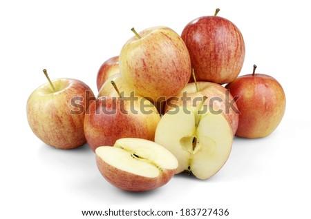 Apples Grouped Together, One Halved - stock photo