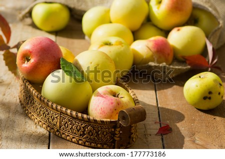 Apples in a  birchbark box