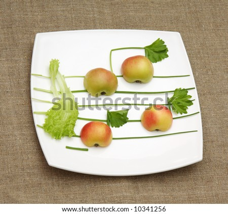 apples, lettuce and onion like music signs on white music-paper - stock photo
