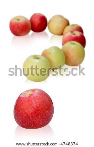 apples like a question mark. isolated on white background - stock photo