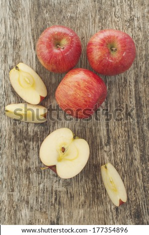 apples on a cutting board - stock photo