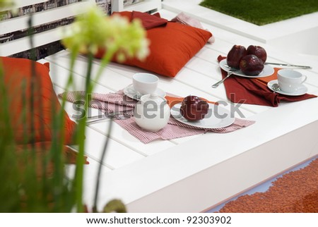apples on the white deck - stock photo