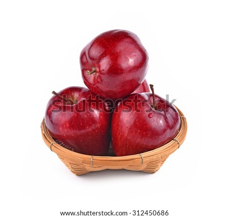 Apples red in bucket isolated white background - stock photo