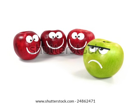 Apples-smiles symbolize themselves a difference between a command and the single - stock photo