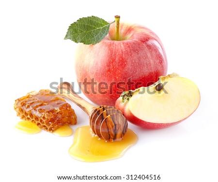 Apples with honey - stock photo