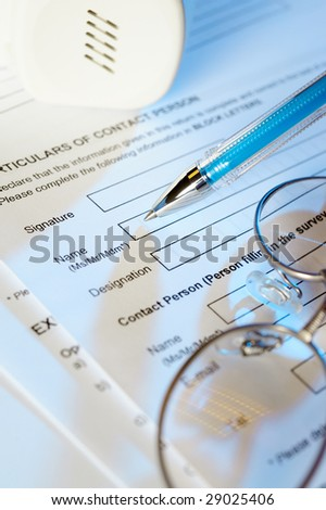 Application form , pen and glasses - stock photo