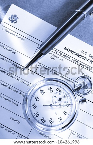 Application form with stopwatch and pen