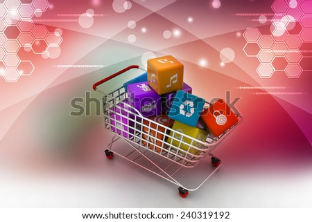 application icon concept in trolley - stock photo