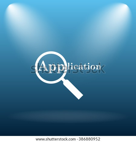 Application icon. Internet button on blue background.   - stock photo