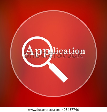 Application icon. Internet button on red background. - stock photo